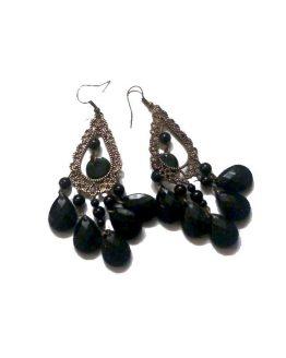 Xmas Black Oorbellen / bijoux / kerst - bohemian / zwart - brons
