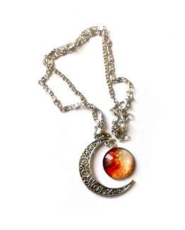 Red moon Ketting / bijoux / filigrane / zilver / rood - oranje