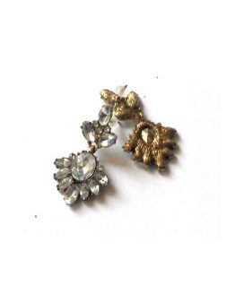 Marlilyn Strass Oorbellen / bijoux / wit - goudkleur
