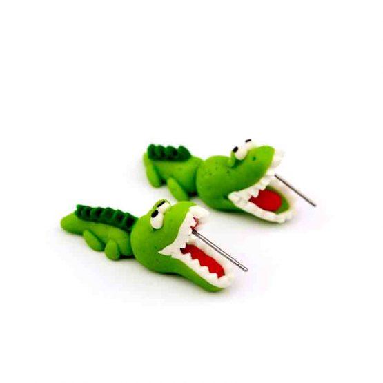 Krokodil Oorbellen / bijoux / grappig / groen