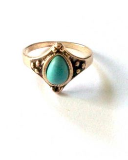 boho gold ring / bijoux / goudkleur - turquoise /model1