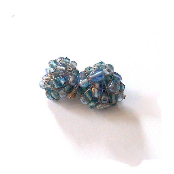 Manouk b073-7 Iris clip oorbellen / bijoux / blauw