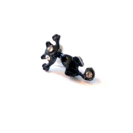 felix de kat oorbel / bijoux / grappig / zwart