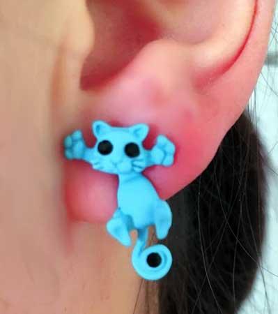 felix de kat oorbellen / bijoux / grappig / blauw