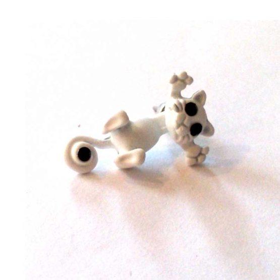 felix de kat oorbellen / bijoux / grappig / wit