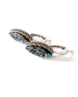 Filigraan drop / bijoux / oorbellen / boho-bohemian /parelmoer - zilver