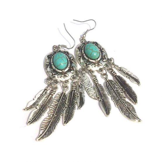 Boho Summer 2017 Navaho Oorbel / Bijoux / zilver - turquoise