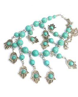 Ketting Hand van Fatima / bijoux / boho - bohemian / zilver - turquoise