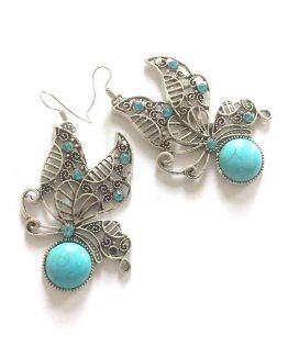 Butterfly Oorbellen / boho - bohemian / bijoux / zilver-turquoise