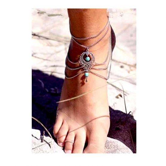 Enkelband Turquoise-Beads / bijoux / boho-bohemian / zilverkleurig-turquoise