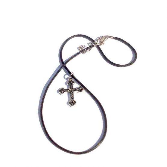 Ketting String Cross / bijoux / boho-bohemian / zilver-zwart