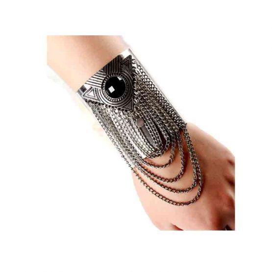 Armband Cuff-Chain / bijoux / boho-bohemian / zilverkleurig