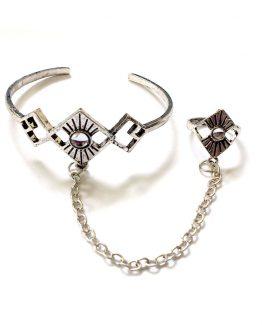 Chainring / bijoux / zilver-wit