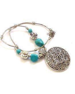 Ketting Chileshe / bijoux / zilver - turquoise