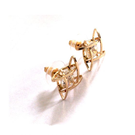 Caged Diamond Oorbellen / Bijoux / Goud -Wit
