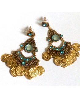 Boho Kerst Coins / bijoux - oorbellen / goud-blauw-strass