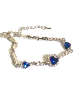 Blue Heart armband / bijoux / zilver-blauw