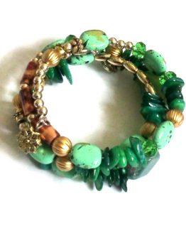 bjutifull green armband / bijoux / transparant - groen -goud