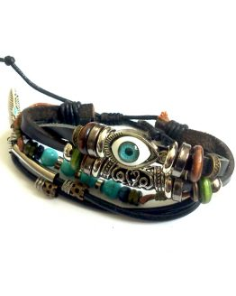 Kwade oog armband / boho - bijoux / meerkleurig - leer