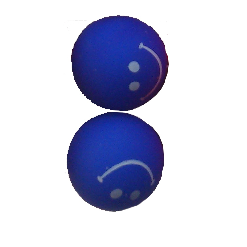 smiley oorbellen / bijoux - grappig / stekertje / blauw
