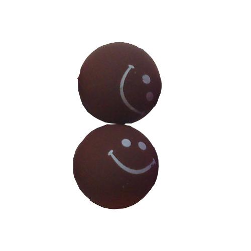 smiley oorbellen / bijoux - grappig / stekertje / bruin