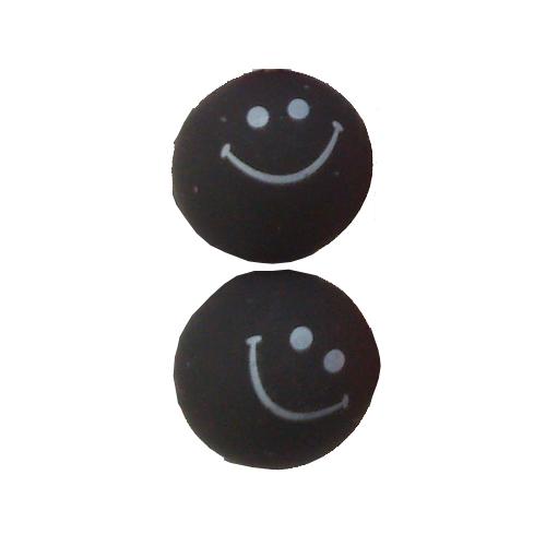 smiley oorbellen / bijoux - grappig / stekertje / zwart
