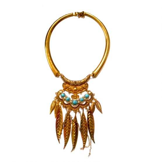 Ketting Joplin / bijoux / boho - bohemian / goud - turquoise