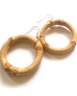 Bamboe Oorbellen / bijoux - natuurlijk / houtkleur - geel