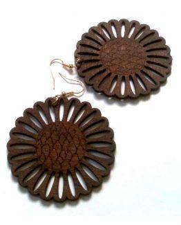 Wood flower oorbelllen / bijoux - natuurlijk - hout / houtkleur - bruin