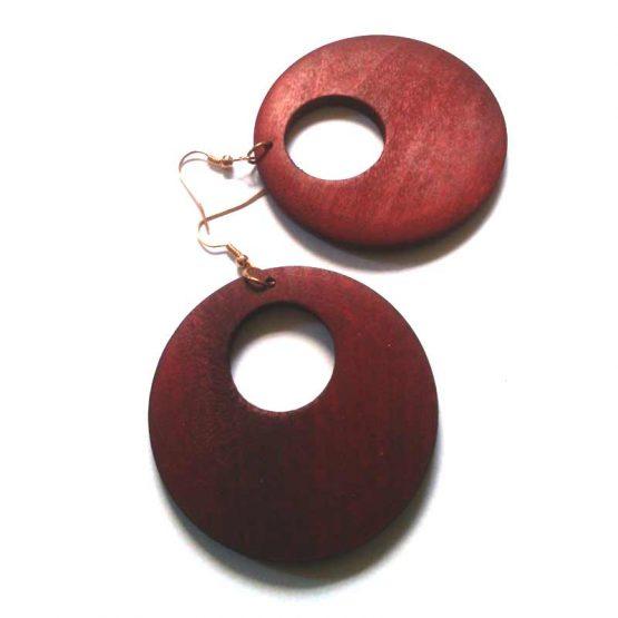 Houten oorbellen / bijoux - natuurlijk - hout / houtkleur - roodbruin
