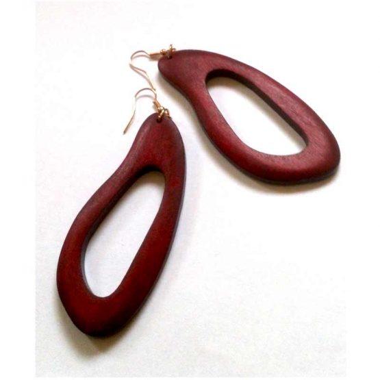 Amazone Oorbellen / bijoux - natuurlijk - hout / houtkleur - roodbruin